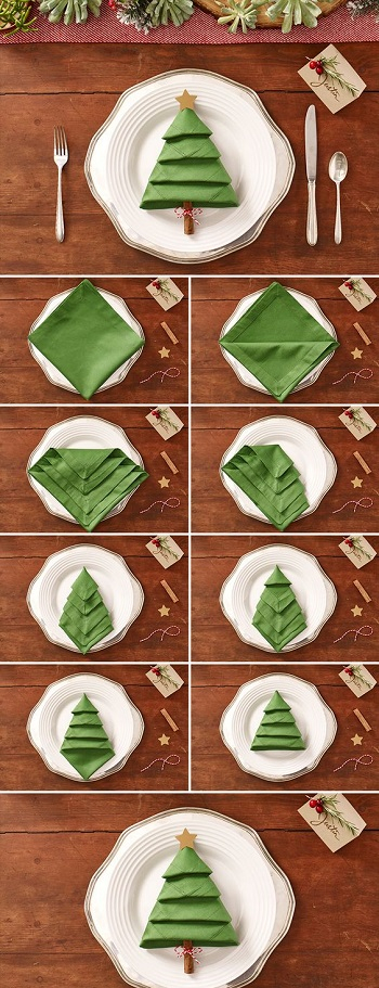 Fold napkin christmas tree DIY Special Type of Christmas Table Decoration To Welcome Your Guests