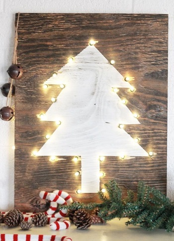 Holiday tree marquee sign DIY Charming Rustic Christmas Wood Projects For Your Amazing Home
