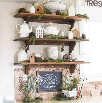Open kitchen shelving christmas decor