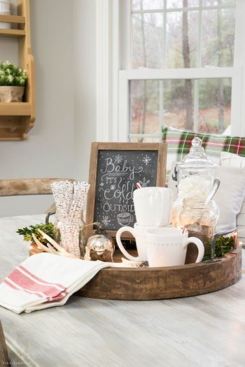 Rustic hot cocoa tray