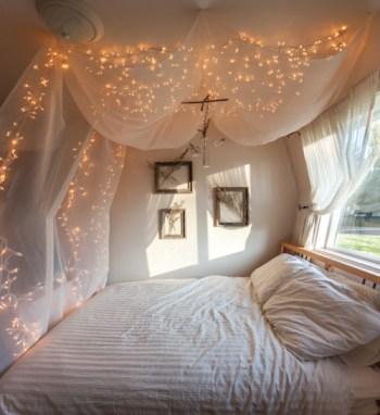 String lights over bed