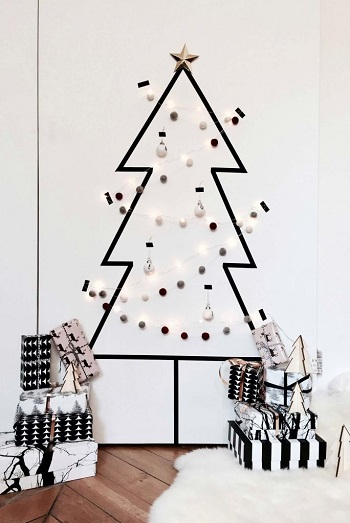 Washi tape black christmas tree DIY Unexpectedly Black Christmas Tree Ideas For A Twist On Tradition