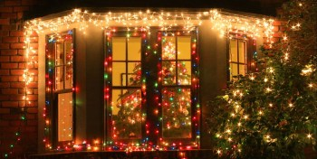 Windows with string lights