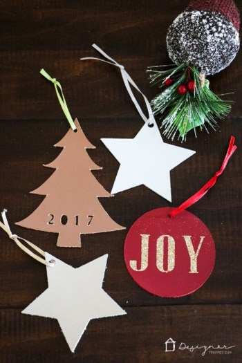 Bright and contrasting leather christmas ornaments