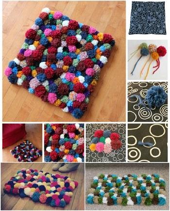 Cuddly pom-pom rug DIY Easy To Copy Plus Low Budget Rug Ideas To Warm You Up This Winter
