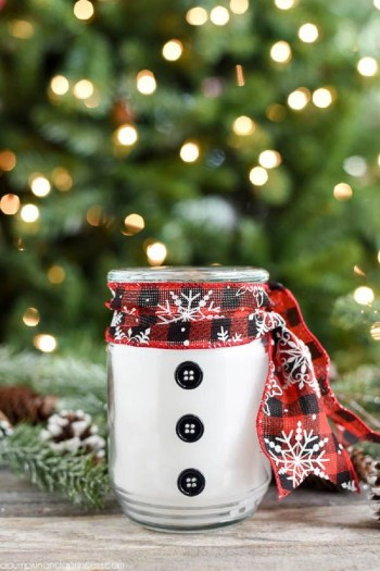 Easy diy snowman candle