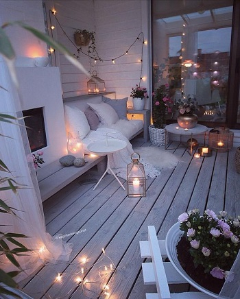 Winter terrace with built-in fireplace Enjoyable Terrace Décor Ideas To Create This Winter To Stay Comfortable