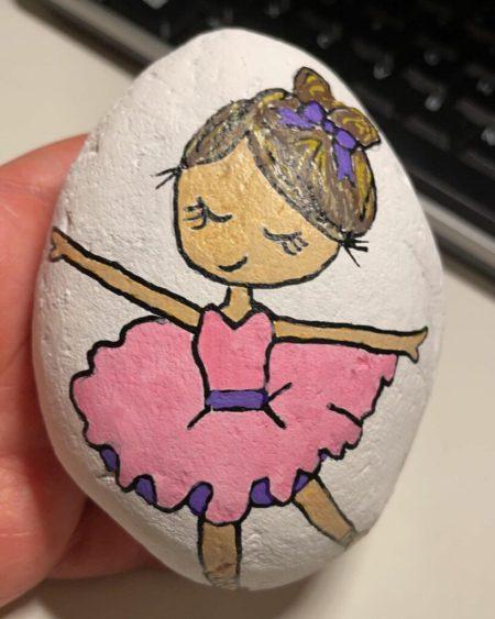 Ballerina rock painting