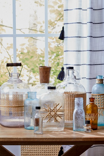 Caned glass bottles Brilliant DIY Caning Project To Create Your Own Furniture