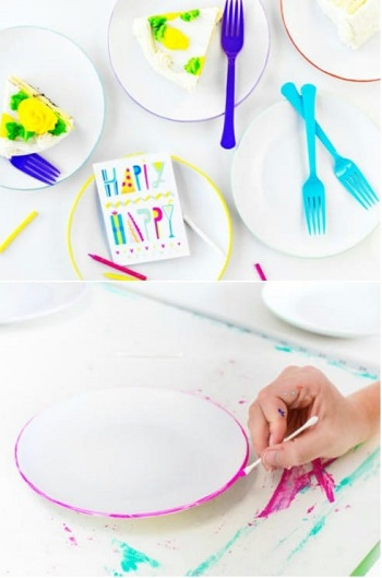 Color edge plate DIY Beautiful Hand Painted Look For Your Decorative Plates
