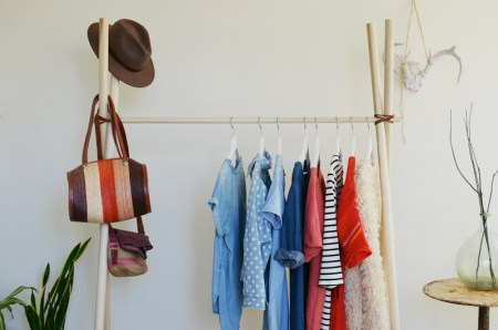 Diy clothes rack with a frame