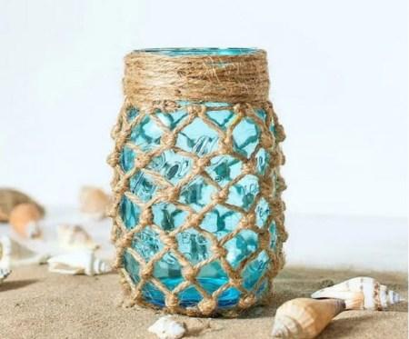 Diy cool fishnet mason jar