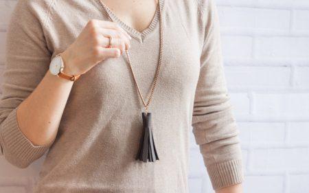 Diy long leather tassel necklace