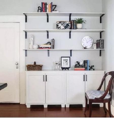 Diy open built-in bookcase