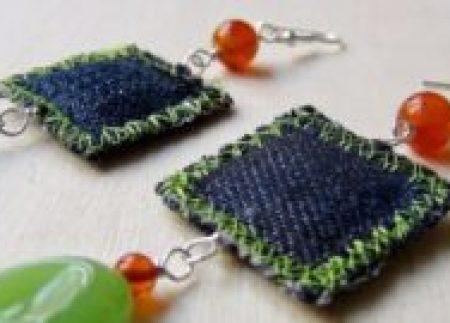 Diy repurposed denim earrings