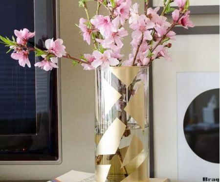 Gold color block vase