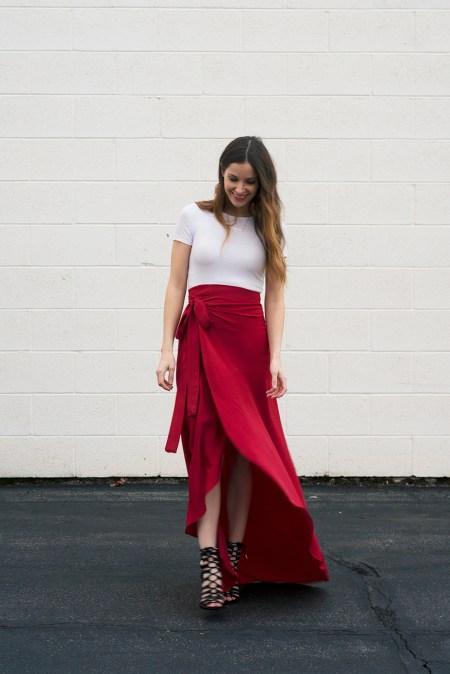 Maxi tulip wrap skirt