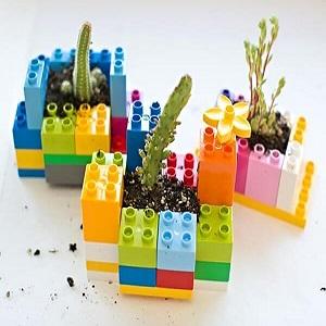 Mini lego planters DIY Ideas Of Full Spirit Artworks To Have Energetic Garden