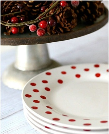 Red dot DIY Beautiful Hand Painted Look For Your Decorative Plates
