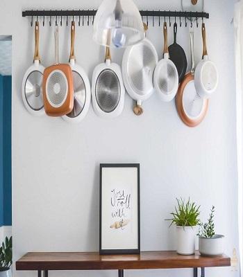 Simple single pot rack idea DIY Pot Racks To Create As Your Kitchen Highlight Exhibition