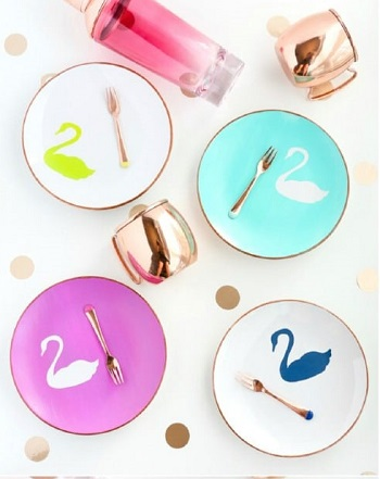 Swan appetizer plates DIY Beautiful Hand Painted Look For Your Decorative Plates