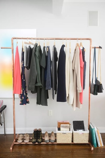 Copper clothes rack Garment Rack Ideas To Keep Entire Wardrobe Organized