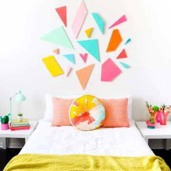 Diy colorful geometric headboard