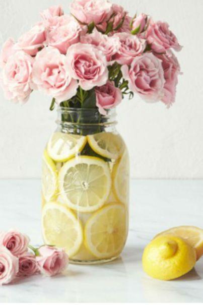 Lemon lined centerpiece diy