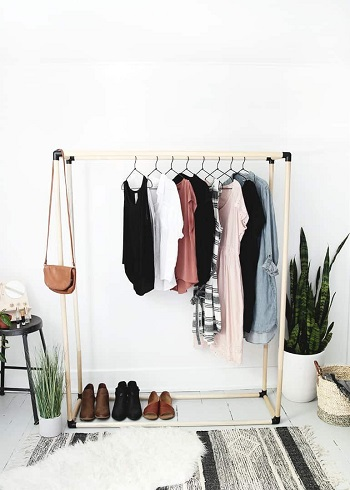 Wooden dowel clothes rack yes