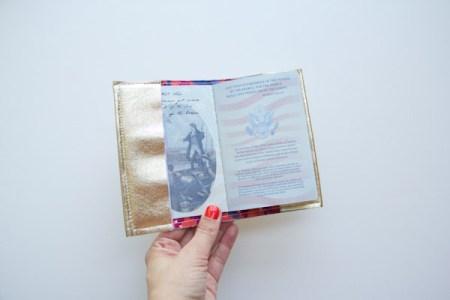Gold leather passport holder
