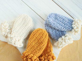 Cute winter spun crochet mittens pattern
