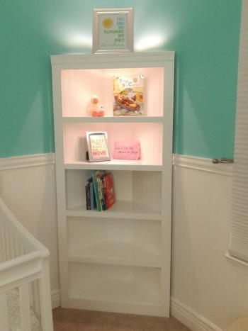 Diy corner shelf for nursery room