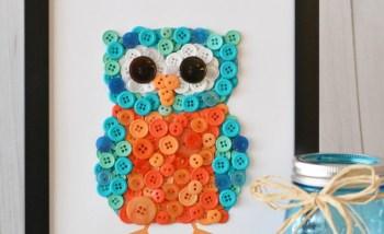 Diy button owl on frame