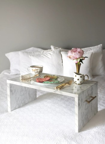 Faux marble bed tray diy