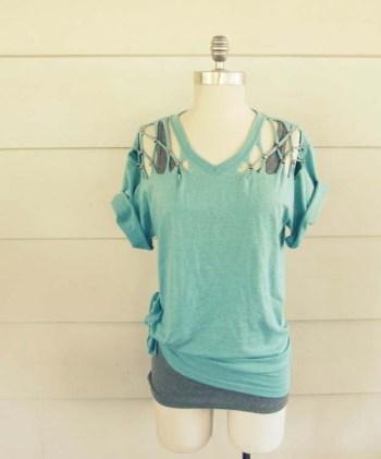 No Sew Lattice T-Shirt DIY