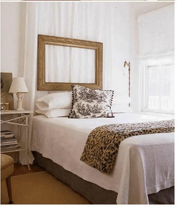 Repurpose old curtain and picture frame floating headboard DIY Repurposed Old Curtain Ideas For Your Home Decoration