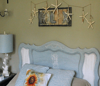 Salt wash and chalk paint upcycled headboard DIY Long-lasting Decoration Ideas With Coastal Home Accessories
