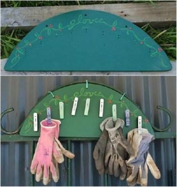 Simple diy garden glove rack