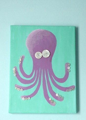 Cute Octopus Wall Art With Buttons