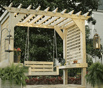 A cozy swing DIY Ideas To Decorate Your Pergola For Refreshing Look
