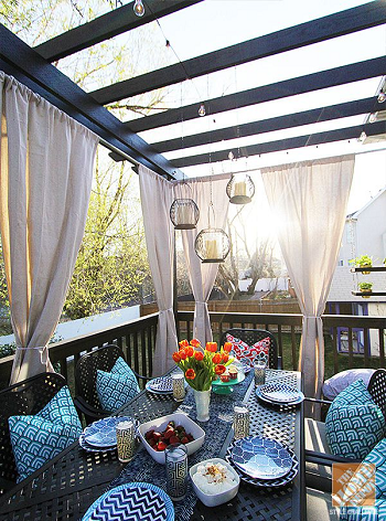 Add curtain for outdoor DIY Ideas To Decorate Your Pergola For Refreshing Lookspace