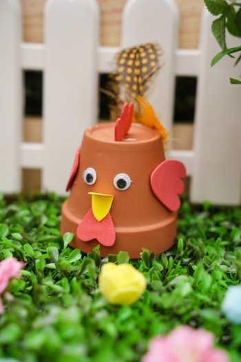 Cute diy flower pot chicken craft