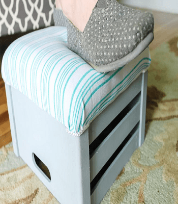 Cute underfoot upcycled crate Pretty DIY Stool Ideas You Can Create From Scrap Materials