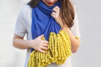 Diy no sew fringe scarf
