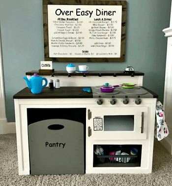 Farmhouse play kitchen style Selected-Unconventional DIY Play Kitchen Ideas To Keep Your Kids Busy