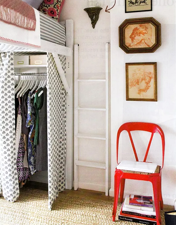 Loft bed with wardrobe Chic And Affordable DIY Solutions For Your Kids' Bedroom Without Closet
