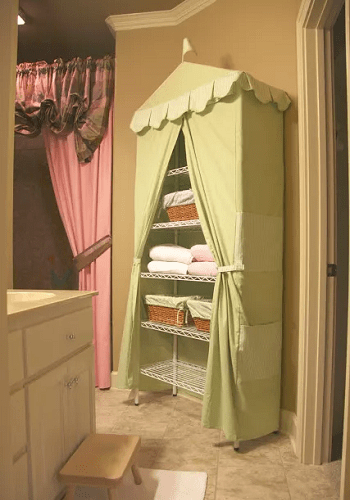 Simple tented storage Chic And Affordable DIY Solutions For Your Kids' Bedroom Without Closet
