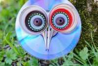 Whimsical Upcycled CD Owl Garden