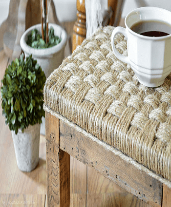 Wood and twine stool Pretty DIY Stool Ideas You Can Create From Scrap Materials