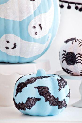 Diy cute glitter halloween motif pumpkins